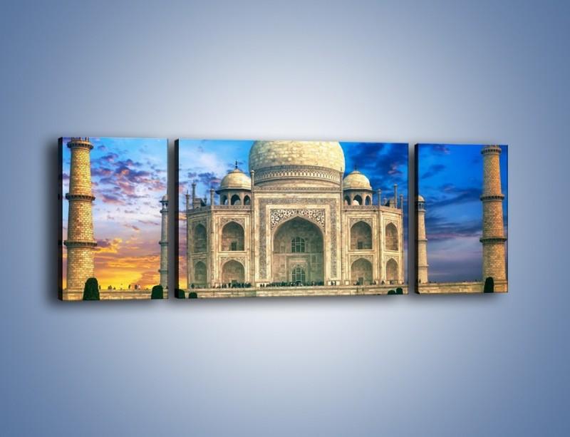 Obraz na płótnie – Tadź Mahal pod niebieskim niebem – trzyczęściowy AM466W5