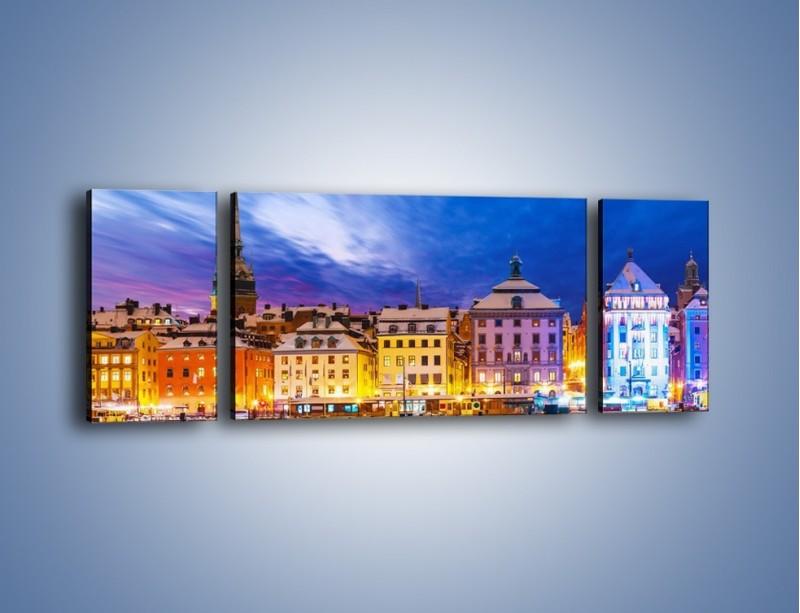 Obraz na płótnie – Sztokholm w zimowej scenerii – trzyczęściowy AM468W5