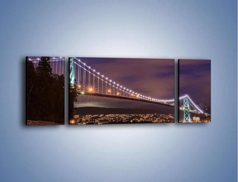 Obraz na płótnie – Most Lions Gate w Vancouver nocą – trzyczęściowy AM472W5