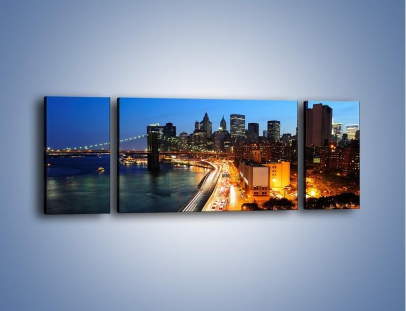 Obraz na płótnie – Manhattan wieczorową porą – trzyczęściowy AM477W5