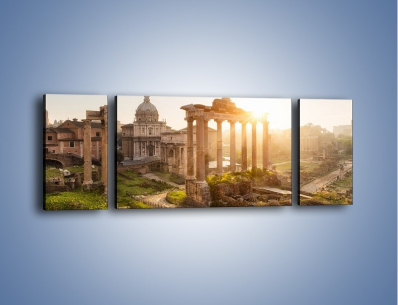 Obraz na płótnie – Rzymskie ruiny o zachodzie słońca – trzyczęściowy AM480W5