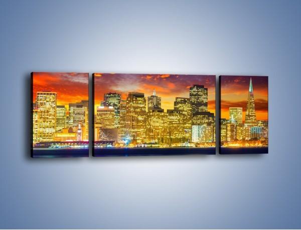 Obraz na płótnie – Wieżowce San Francisco nad wodą – trzyczęściowy AM481W5