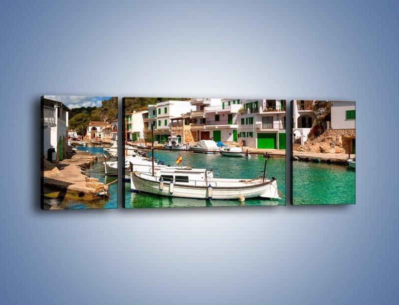 Obraz na płótnie – Domki nad wodą na Majorce – trzyczęściowy AM484W5