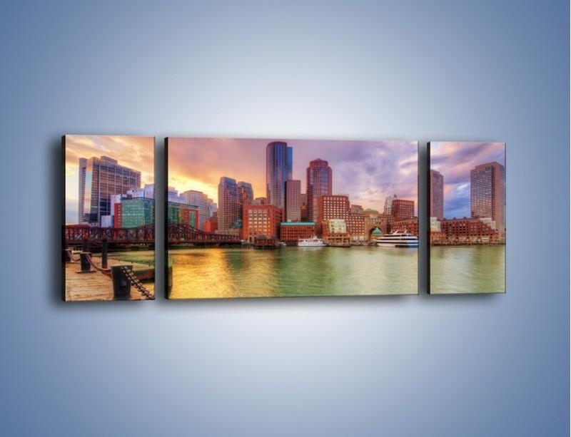 Obraz na płótnie – Widok na centrum Bostonu – trzyczęściowy AM486W5