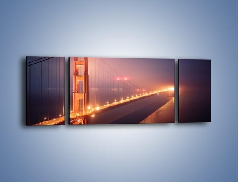 Obraz na płótnie – Most Golden Gate w nocnej mgle – trzyczęściowy AM490W5