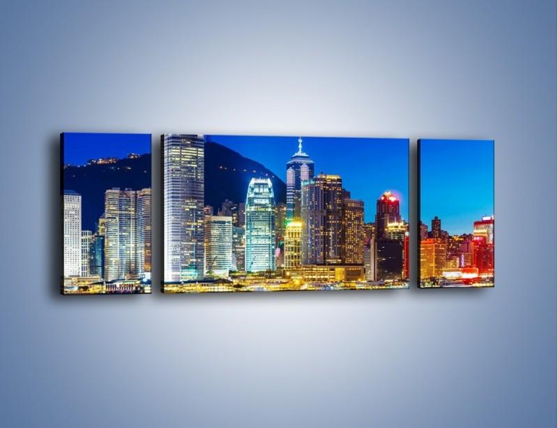 Obraz na płótnie – Oświetlone wieżowce Hong Kongu – trzyczęściowy AM498W5