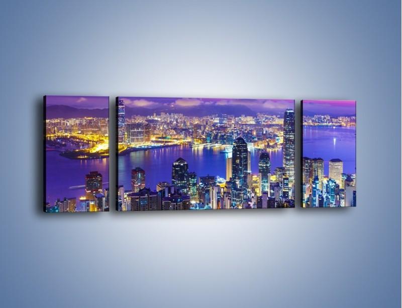 Obraz na płótnie – Wieczorna panorama Hong Kongu – trzyczęściowy AM505W5
