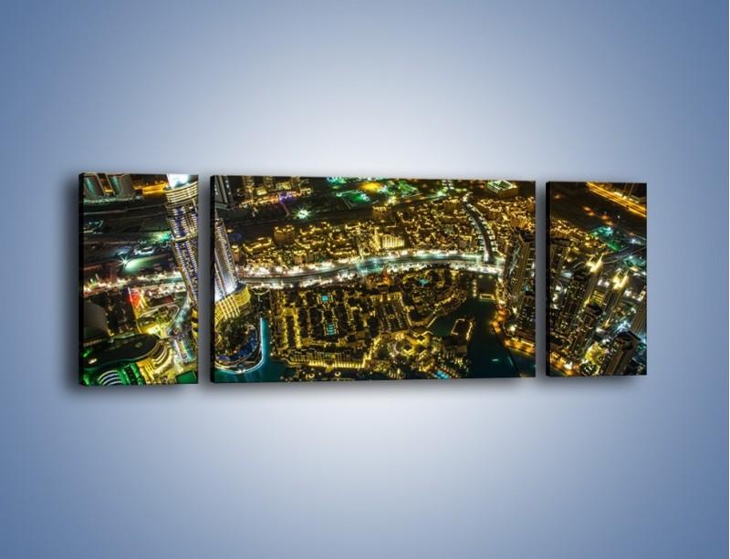 Obraz na płótnie – Dubaj nocą z lotu ptaka – trzyczęściowy AM507W5