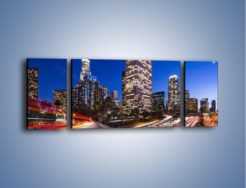Obraz na płótnie – Los Angeles w wieczornych światłach – trzyczęściowy AM522W5