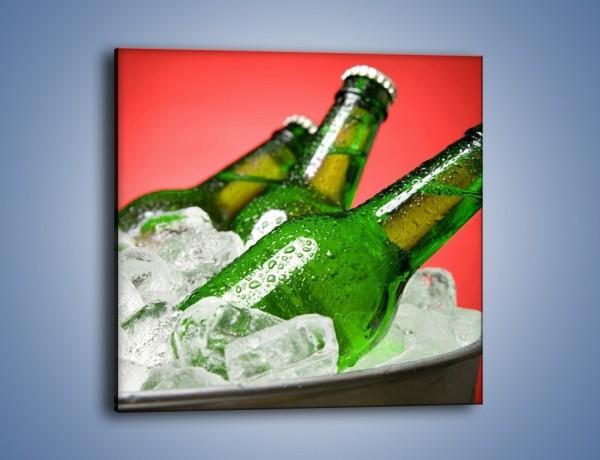 Obraz na płótnie – Zmrożone butelki piwa – jednoczęściowy kwadratowy JN025