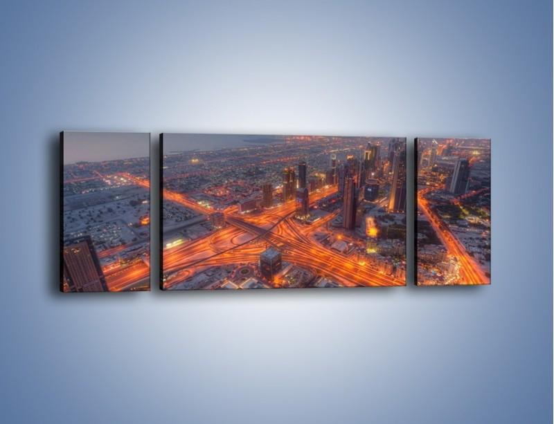 Obraz na płótnie – Panorama Dubaju o poranku – trzyczęściowy AM538W5