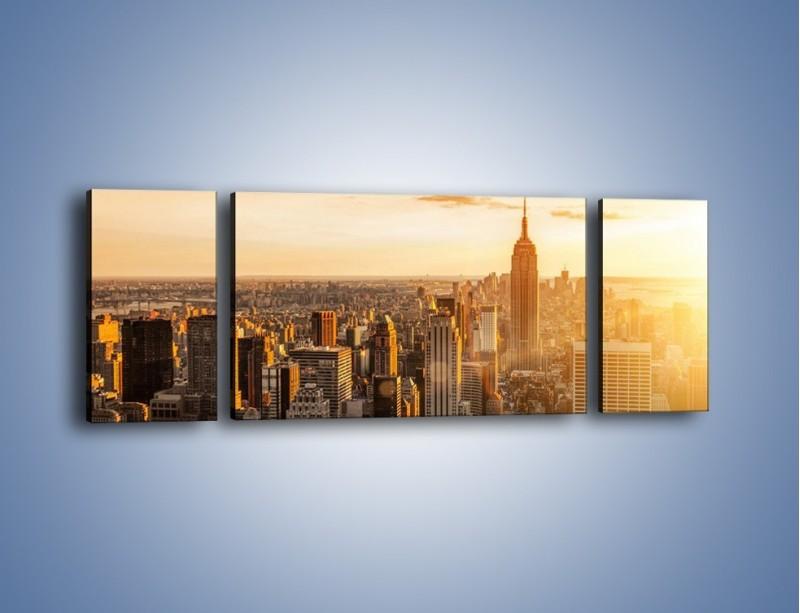 Obraz na płótnie – Zachód słońca nad Nowym Jorkiem – trzyczęściowy AM550W5