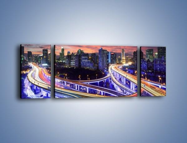 Obraz na płótnie – Zapadająca noc nad Szanghajem – trzyczęściowy AM558W5