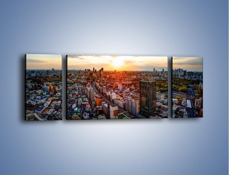 Obraz na płótnie – Panorama miasta o zachodzie słońca – trzyczęściowy AM587W5
