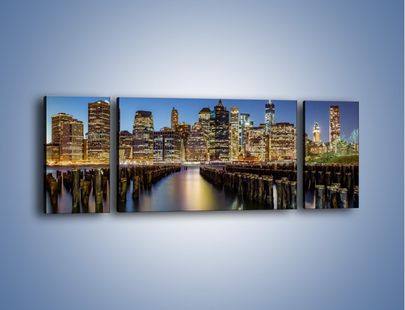 Obraz na płótnie – Zniszczone molo i widok na Manhattan – trzyczęściowy AM601W5