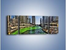 Obraz na płótnie – Chicago River w Dzień św. Patryka – trzyczęściowy AM605W5