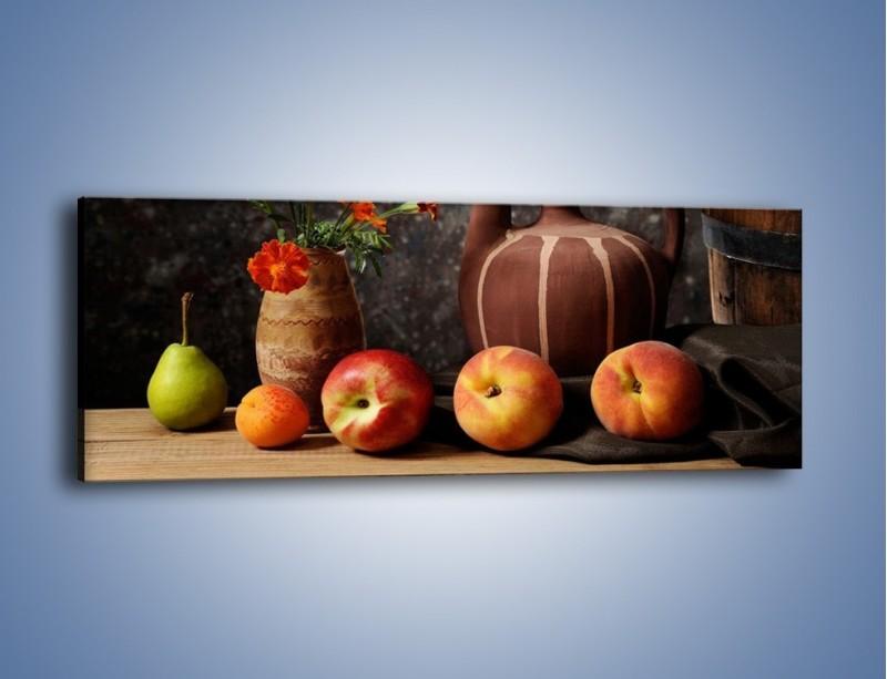 Obraz na płótnie – Kwiaty wśród owoców – jednoczęściowy panoramiczny JN280