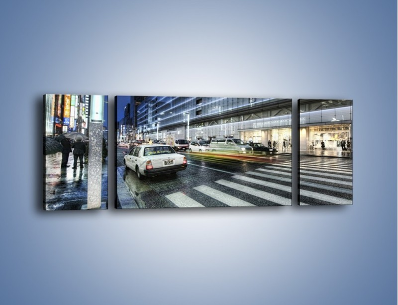 Obraz na płótnie – Ulica Tokyo w deszczu – trzyczęściowy AM613W5