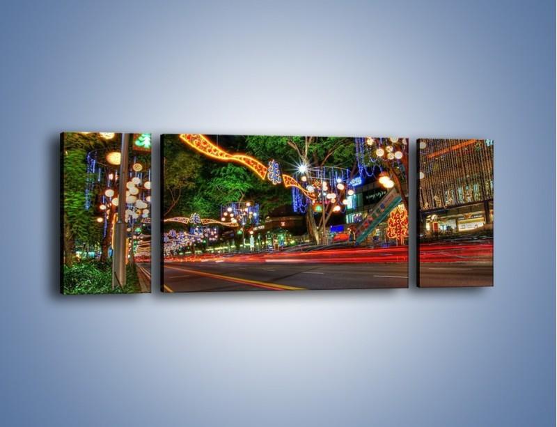 Obraz na płótnie – Noworoczne dekoracje w Singapurze – trzyczęściowy AM616W5
