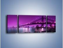 Obraz na płótnie – Manhatten Bridge w kolorze fioletu – trzyczęściowy AM619W5