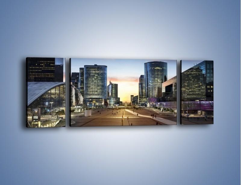 Obraz na płótnie – Quartier La Défense w Paryżu – trzyczęściowy AM647W5