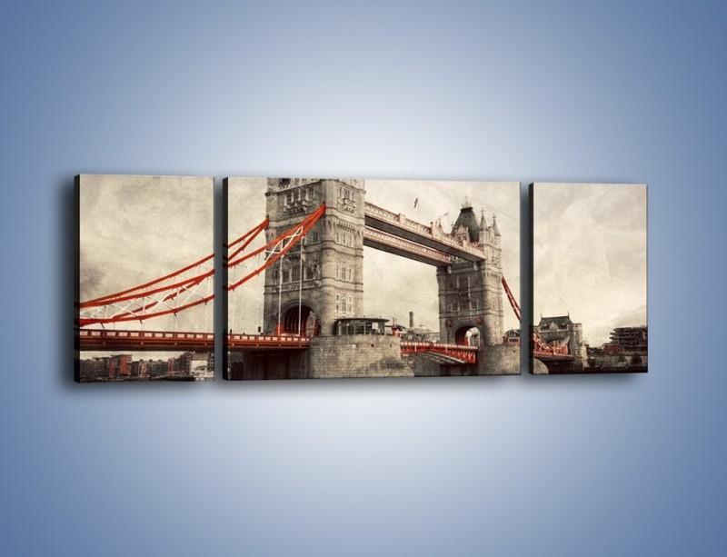 Obraz na płótnie – Tower Bridge w stylu vintage – trzyczęściowy AM668W5