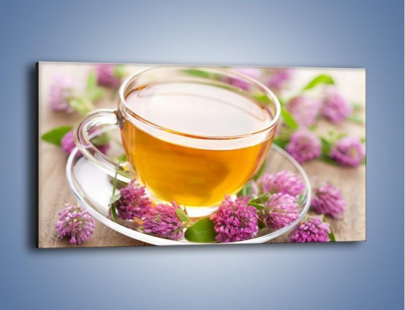 Obraz na płótnie – Herbata z kwiatami – jednoczęściowy panoramiczny JN283