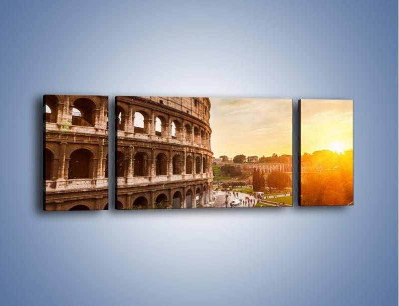 Obraz na płótnie – Rzymskie Koloseum o zachodzie słońca – trzyczęściowy AM684W5