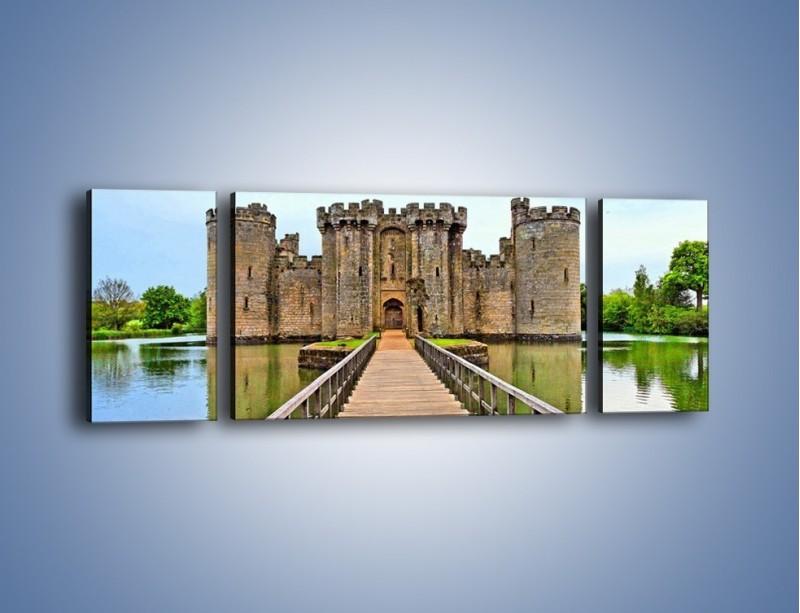 Obraz na płótnie – Zamek Bodiam w Wielkiej Brytanii – trzyczęściowy AM692W5