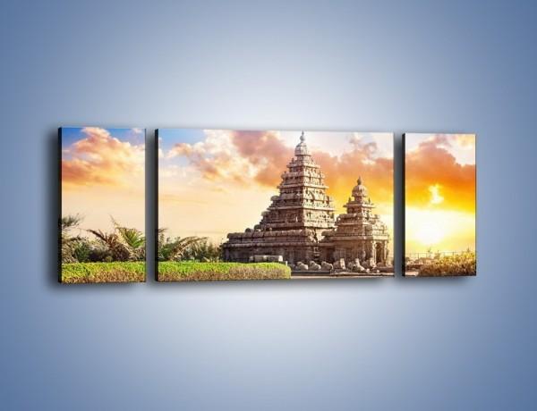 Obraz na płótnie – Świątynia Śiwy o zachodzie słońca – trzyczęściowy AM696W5