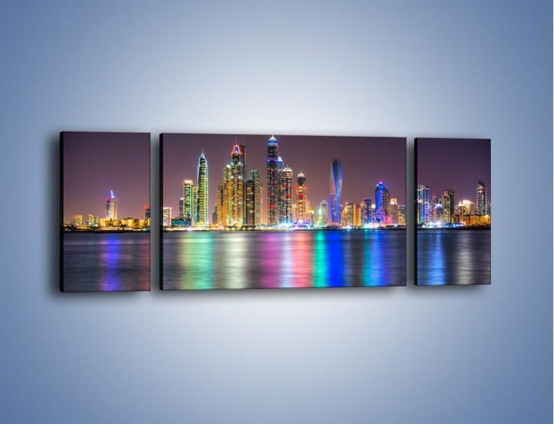 Obraz na płótnie – Kolorowe drapacze chmur w Dubaju – trzyczęściowy AM724W5