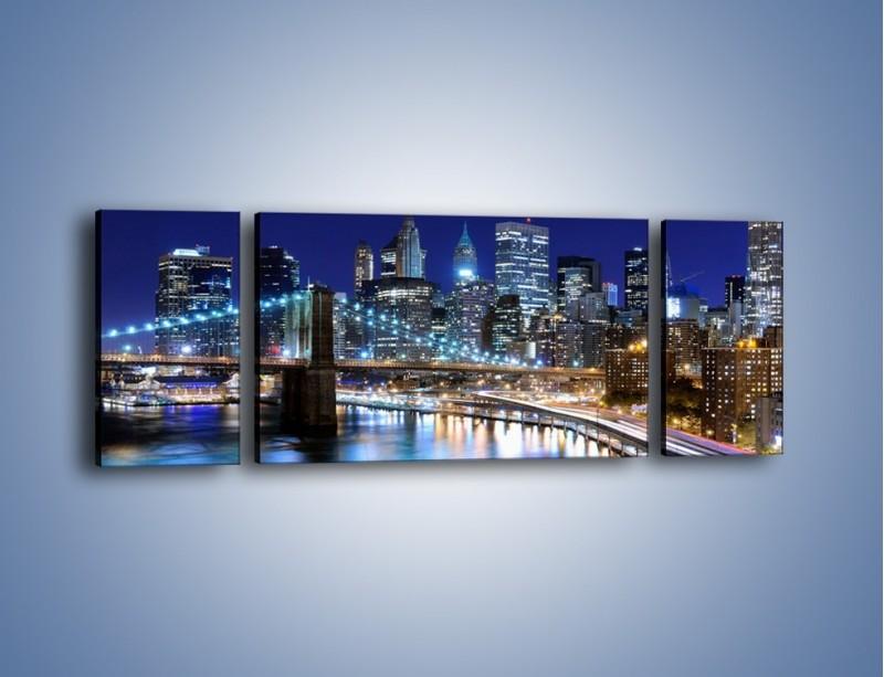Obraz na płótnie – Nocne światła Nowego Yorku – trzyczęściowy AM726W5