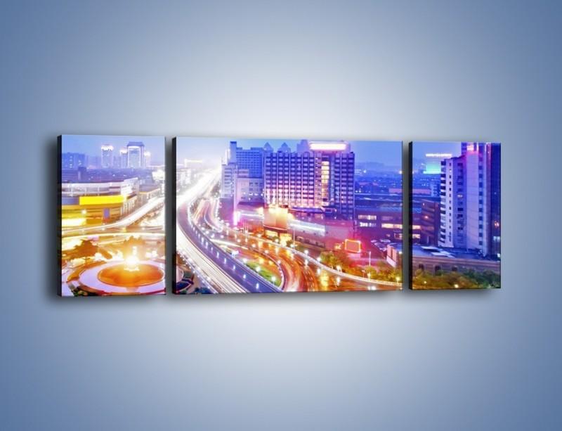 Obraz na płótnie – Rozświetlona miejska estakada – trzyczęściowy AM729W5