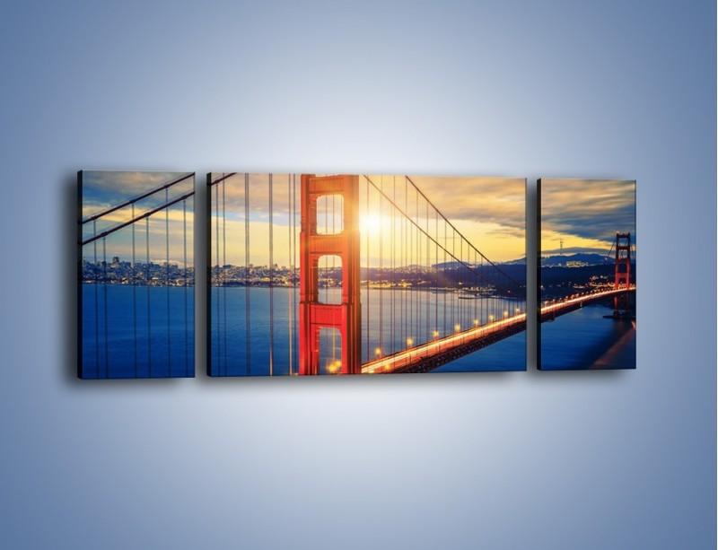 Obraz na płótnie – Zachód słońca nad Mostem Golden Gate – trzyczęściowy AM738W5