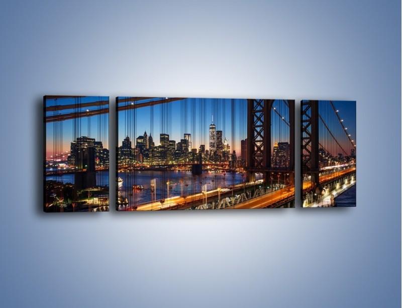 Obraz na płótnie – Nowojorskie mosty na tle Manhattanu – trzyczęściowy AM751W5