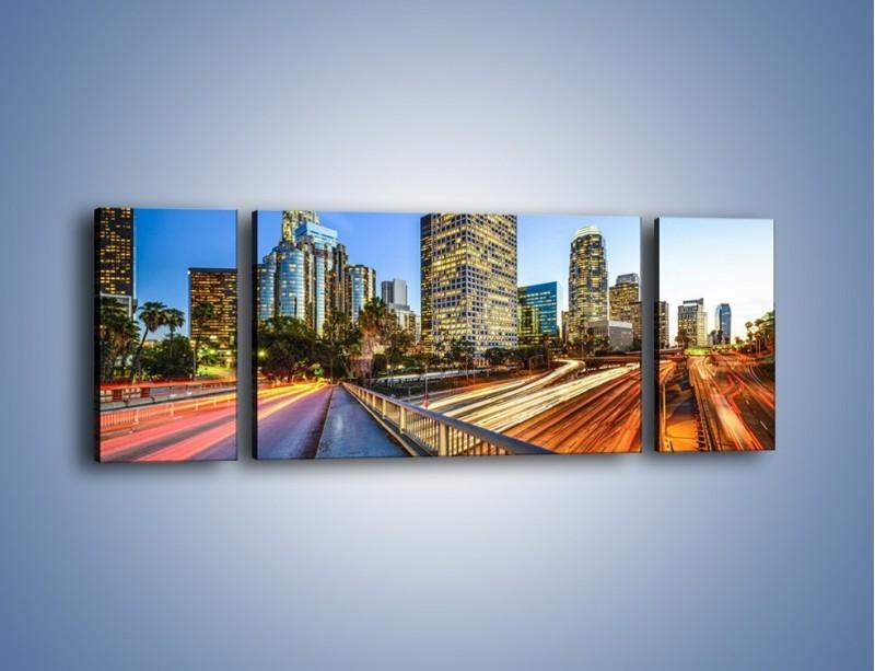 Obraz na płótnie – Światła Los Angeles o zmierzchu – trzyczęściowy AM753W5