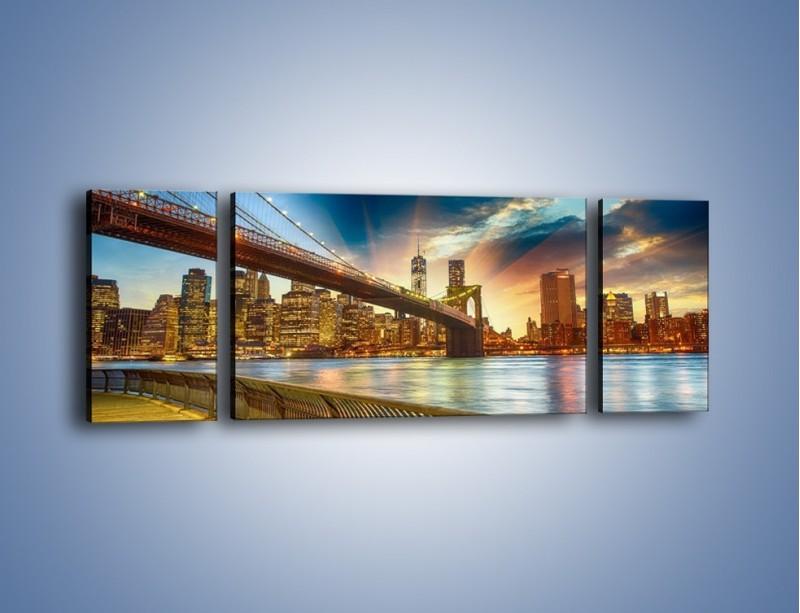 Obraz na płótnie – Most w Nowym Jorku o zmierzchu – trzyczęściowy AM754W5