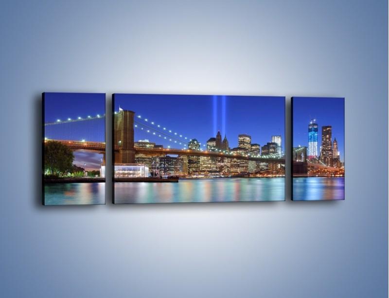Obraz na płótnie – Świetlne kolumny w Nowym Jorku – trzyczęściowy AM757W5