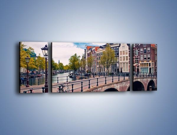 Obraz na płótnie – Kanał i most amsterdamski – trzyczęściowy AM759W5