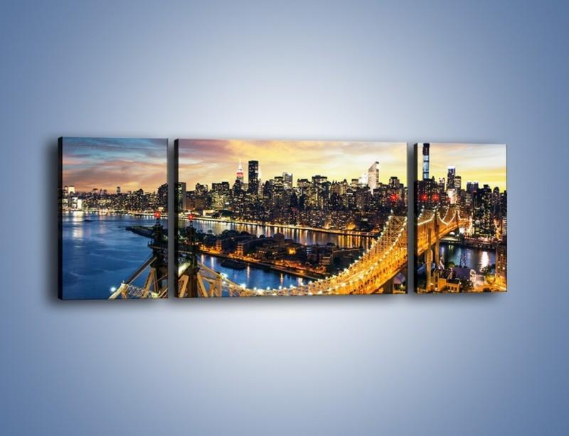 Obraz na płótnie – Queensboro Bridge w Nowym Yorku – trzyczęściowy AM768W5