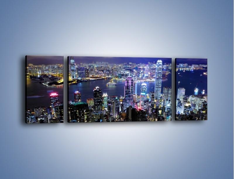 Obraz na płótnie – Nocna panorama Hong Kongu – trzyczęściowy AM772W5