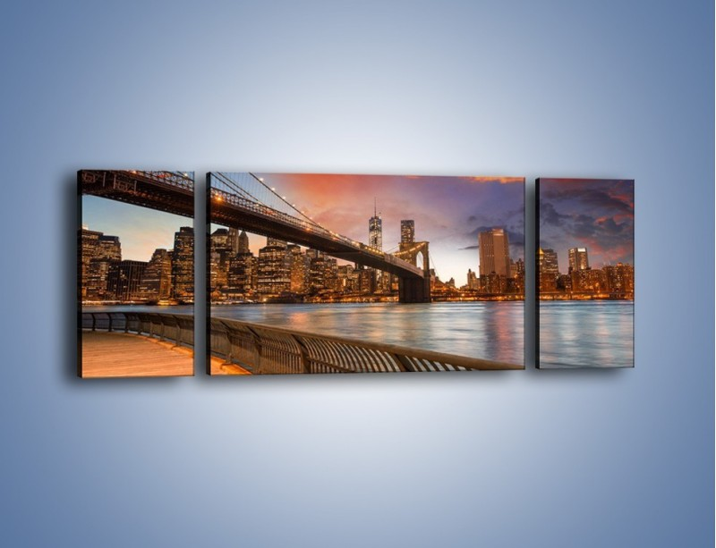 Obraz na płótnie – Zmierzch nad Mostem Brooklińskim – trzyczęściowy AM793W5