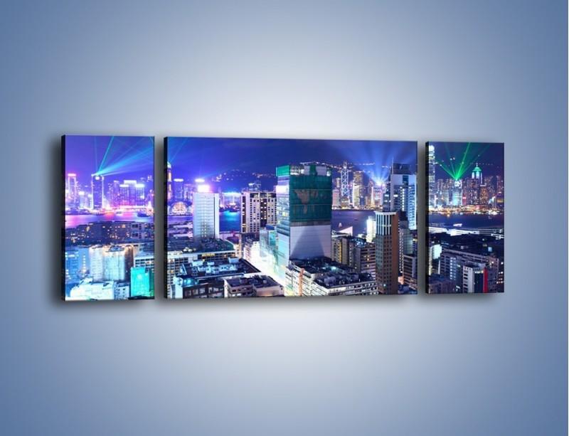 Obraz na płótnie – Pokaz laserów nad Hong Kongiem – trzyczęściowy AM796W5