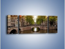 Obraz na płótnie – Amsterdamski kanał – trzyczęściowy AM800W5