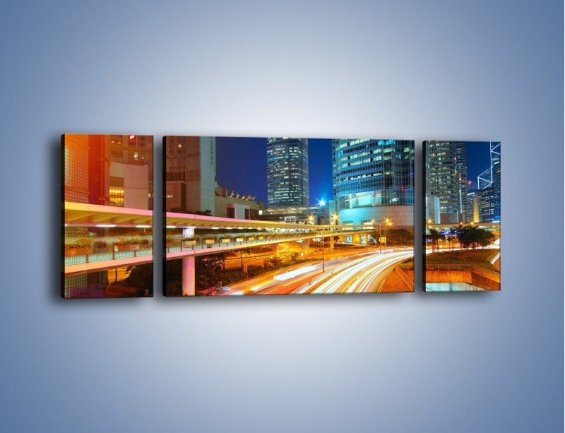Obraz na płótnie – Nocne kolory miasta – trzyczęściowy AM808W5