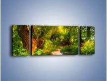 Obraz na płótnie – Drewniana kładka przez las – trzyczęściowy GR007W5