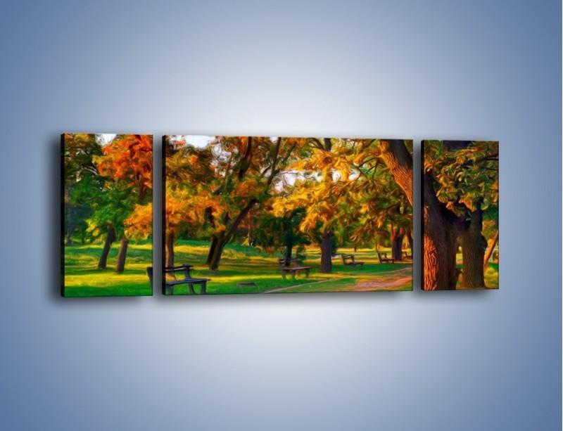 Obraz na płótnie – Ławeczka w parku – trzyczęściowy GR011W5