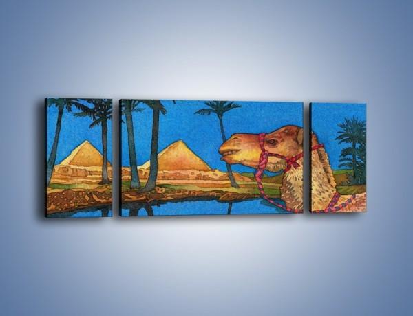 Obraz na płótnie – Piramidy i uśmiechnięty wielbłąd – trzyczęściowy GR047W5