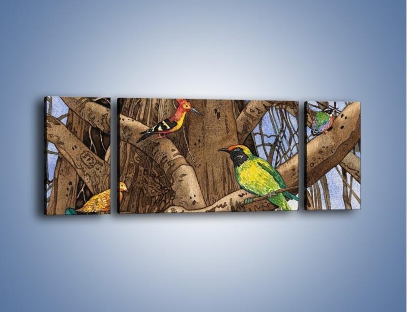 Obraz na płótnie – Mali przyjaciele na drzewie – trzyczęściowy GR050W5