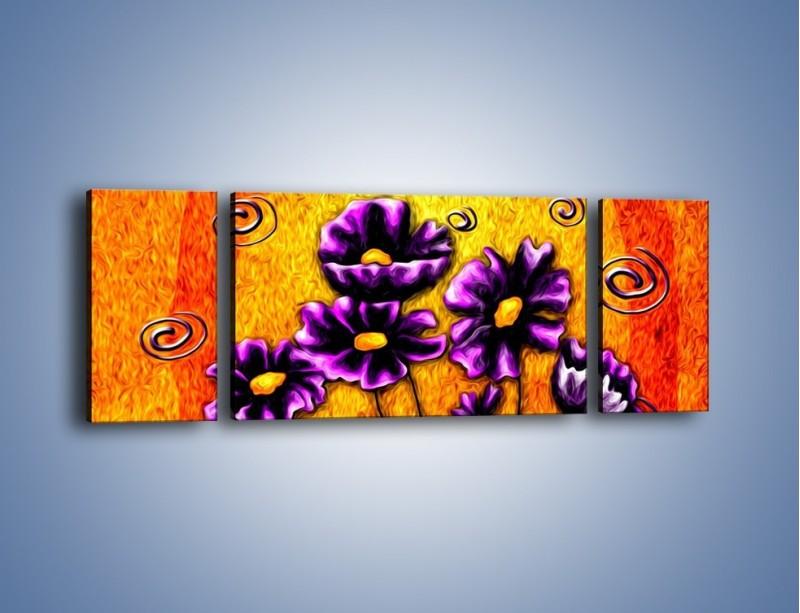 Obraz na płótnie – Bratki w ogniu – trzyczęściowy GR090W5